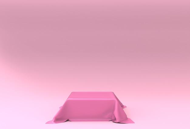 3d-rendering lege podium mockup in roze