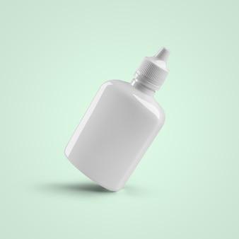 3d-rendering lege witte cosmetische plastic druppelflesje voor oor en oog geïsoleerd op zachte blauwe achtergrond. geschikt voor uw mockup-ontwerp.