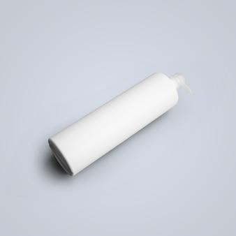3d-rendering lege witte cosmetische plastic fles met dispenser pomp geïsoleerd op een grijze achtergrond. geschikt voor uw mockup-ontwerp.
