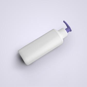 3d-rendering lege witte cosmetische plastic fles met paarse dispenser geïsoleerd op een grijze achtergrond. geschikt voor uw mockup-ontwerp.