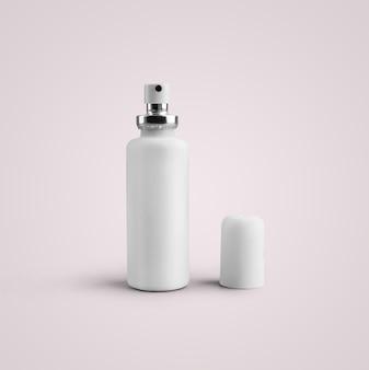 3d-rendering lege witte cosmetische plastic spuitfles geïsoleerd op een grijze achtergrond. geschikt voor uw mockup-ontwerp.