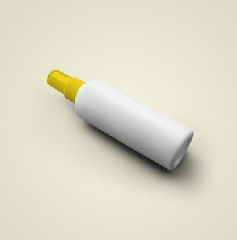 3d-rendering lege witte cosmetische plastic spuitfles met gele dop geïsoleerd op een grijze achtergrond. geschikt voor uw mockup-ontwerp.