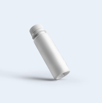 3d-rendering lege witte cosmetische poeder fles met plastic dop geïsoleerd op een grijze achtergrond. geschikt voor uw mockup-ontwerp.