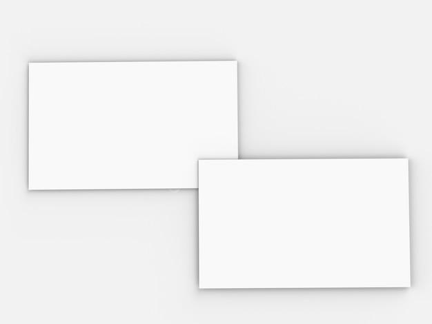 3d-rendering lege witte naamkaartjes voor- en achterkant