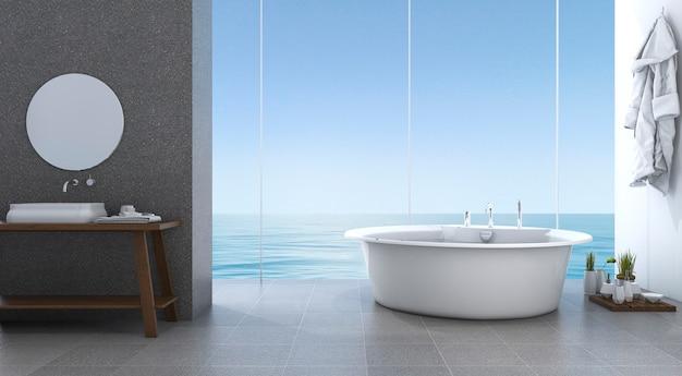 3d-rendering lichte minimale badkamer in de buurt van strand