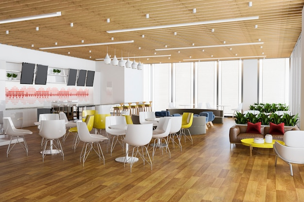3d rendering loft en luxe hotelreceptie en vintage café lounge restaurant