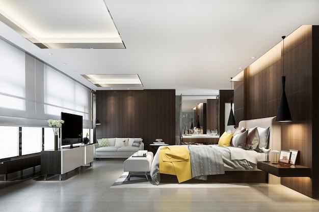 3d-rendering loft luxe slaapkamer met make-up tafel in de buurt van raam