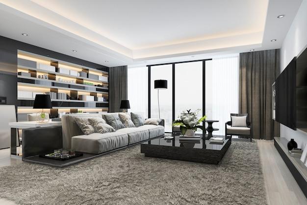 3d-rendering loft luxe woonkamer en werkkamer met boekenplank