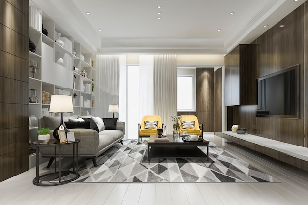 3d-rendering loft luxe woonkamer met gele fauteuil met boekenplank