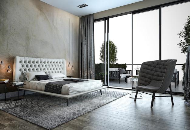 3d-rendering loft moderne slaapkamer in de buurt van raam uitzicht