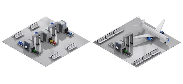3d-rendering luchthaventerminal interieur met stoelen en beveiligingspoortjes isometrisch