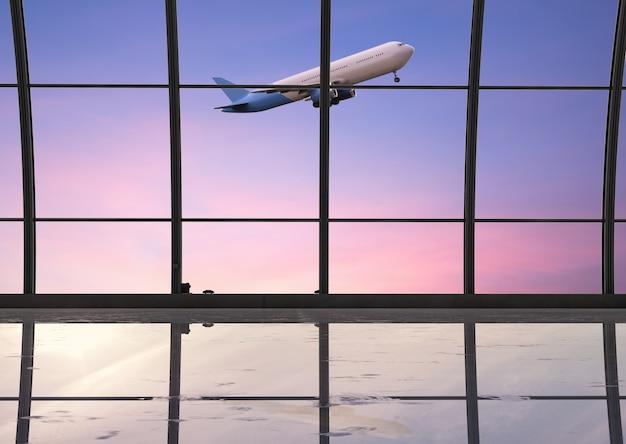 3d-rendering luchthaventerminal interieur met vensterglazen