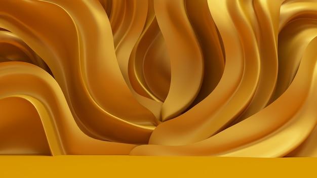 3d-rendering luxe achtergrond met gouden gordijnstof