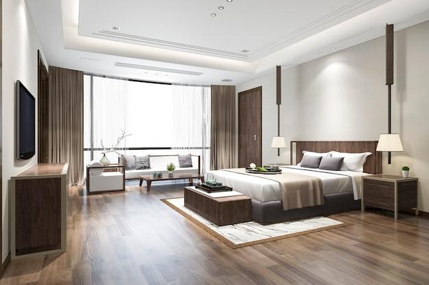 3d-rendering luxe chinese slaapkamer suite in resorthotel