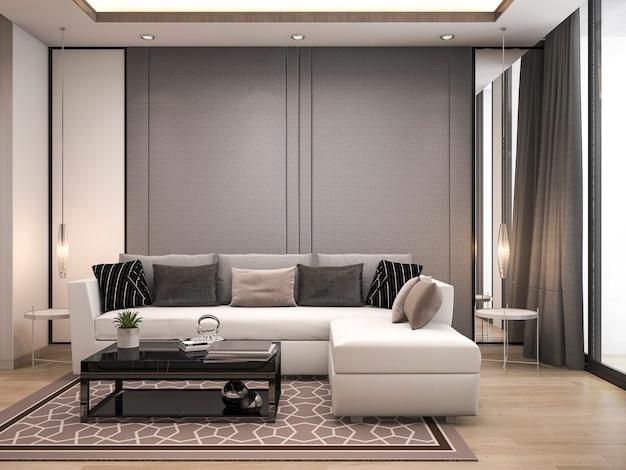 3d-rendering luxe en moderne woonkamer met een goed design lederen sofa