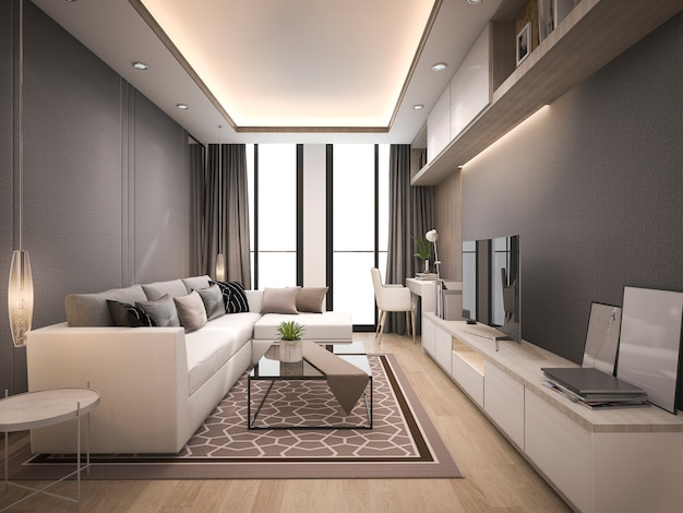3d-rendering luxe en moderne woonkamer met een goed ontworpen lederen bank