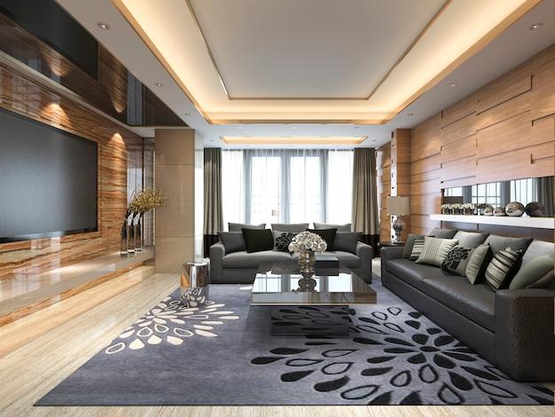 3d-rendering luxe en moderne woonkamer met lederen bank