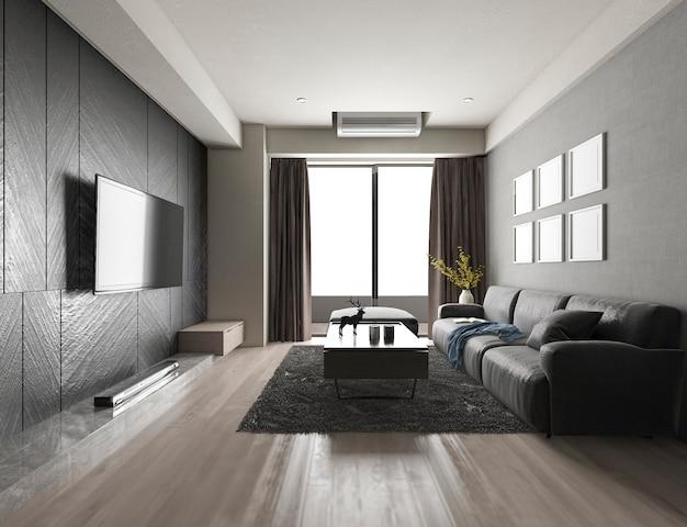 3d-rendering luxe en moderne woonkamer met stoffenbank