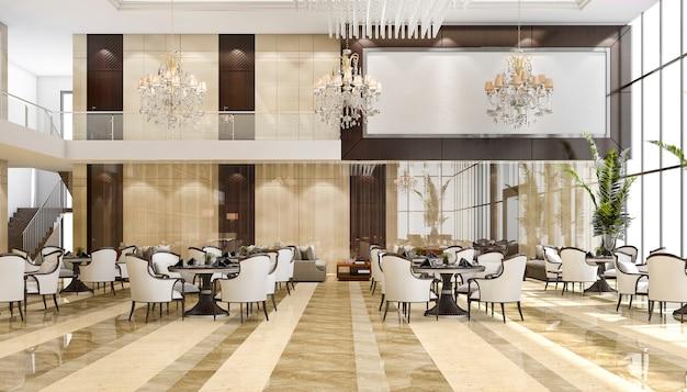 3d-rendering luxe hotelreceptie en lounge restaurant