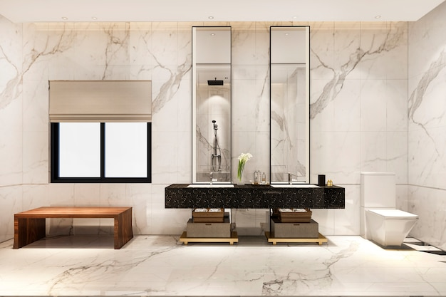 3d-rendering luxe modern design badkamer en toilet