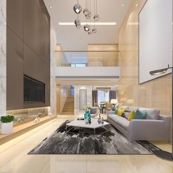 3d-rendering luxe moderne dubbele woonkamer met eetkamer