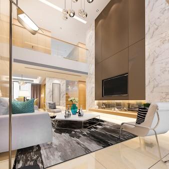 3d rendering luxe moderne dubbele woonverdieping met eetkamer