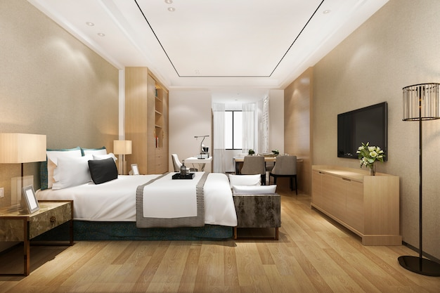 3d-rendering luxe moderne slaapkamer suite in hotel met eettafel