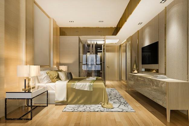 3d-rendering luxe moderne slaapkamer suite in hotel met garderobe en inloopkast