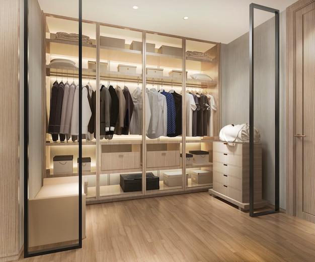 3d-rendering luxe scandinavische houten inloopkast met kledingkast