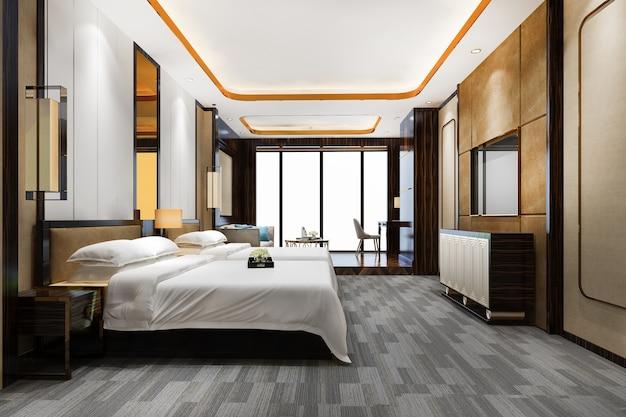 3d-rendering luxe slaapkamersuite in resorthotel met twee eenpersoonsbedden en woonkamer