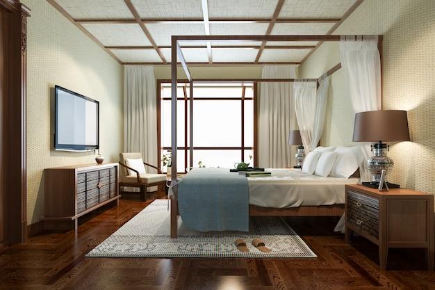 3d-rendering luxe tropische slaapkamer suite in resort hotel en resort