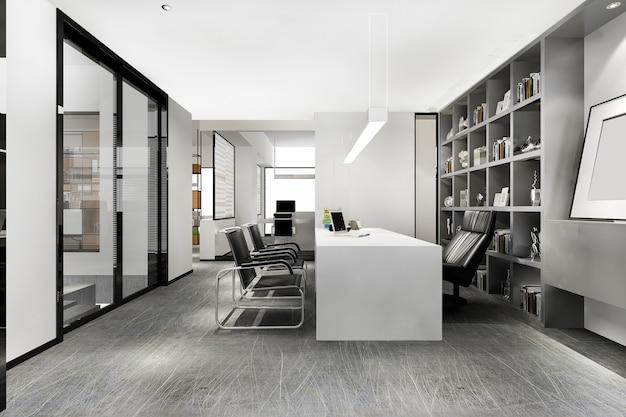 3d-rendering luxe zakelijke bijeenkomst en werkkamer in uitvoerend kantoor