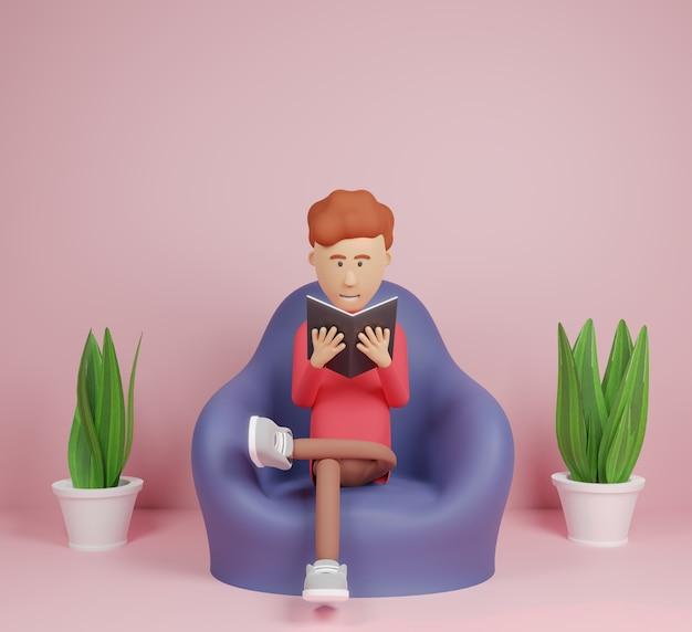 3d-rendering mens lezen van een boek