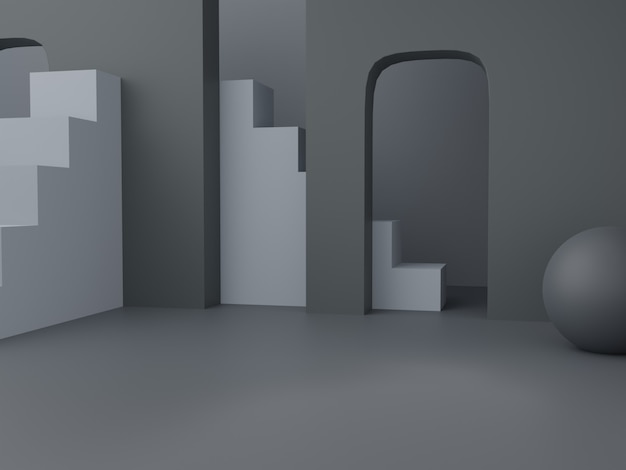 3d rendering mens zwart grijs en wit thema studio shot product display achtergrond met abstract
