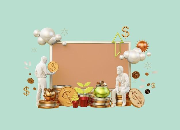 3d-rendering met lay-out zakelijke carrière financiën
