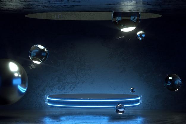 3d-rendering met zwart podium in neonkleuren