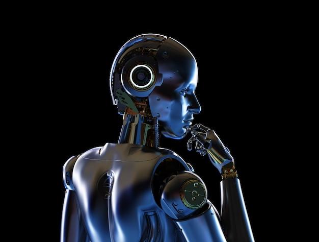 3d-rendering metalen cyborg of robot op zwarte achtergrond