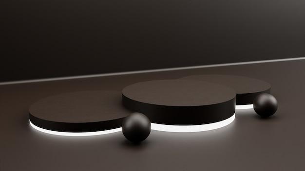3d-rendering minimale achtergrond, scène met podium en neonlicht voor productvertoning.