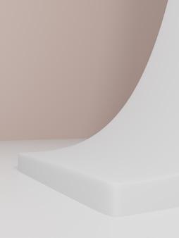 3d-rendering minimale pastelroze en witte hellingsrekwisieten productweergaveachtergrond voor schoonheids- en huidverzorgingsproducten