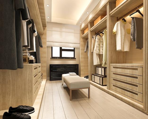 3d-rendering minimale scandinavische houten inloopkast met garderobe