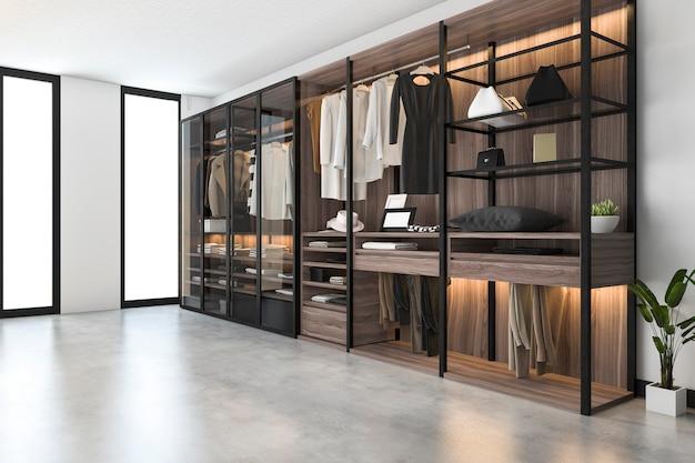 3d-rendering minimale scandinavische inloopkast met houten kledingkast