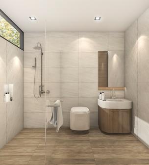 3d-rendering minimale warme slaapkamer met een goed ontwerp