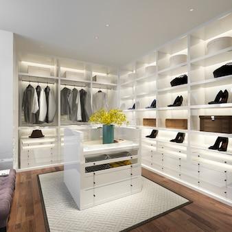 3d-rendering minimale witte scandinavische houten inloopkast met kledingkast