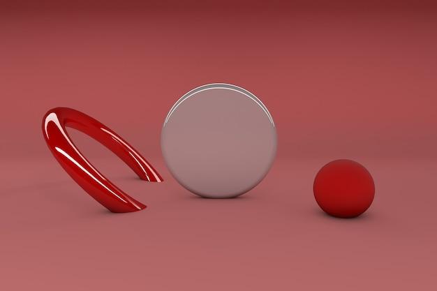 3d-rendering, minimalistische abstracte, primitieve geometrische figuren