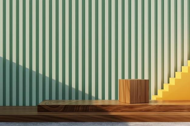 3d-rendering minimalistische houten podiumvertoning