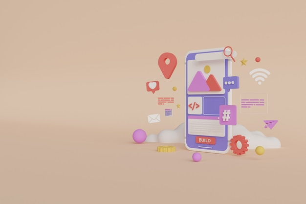 3d-rendering mobiele app-ontwikkeling