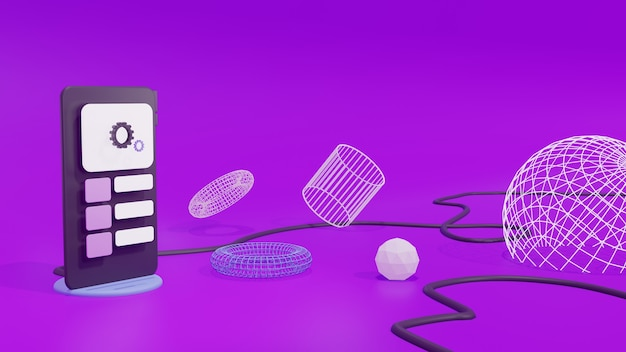 3d-rendering mobiele telefoon interface achtergrond paars