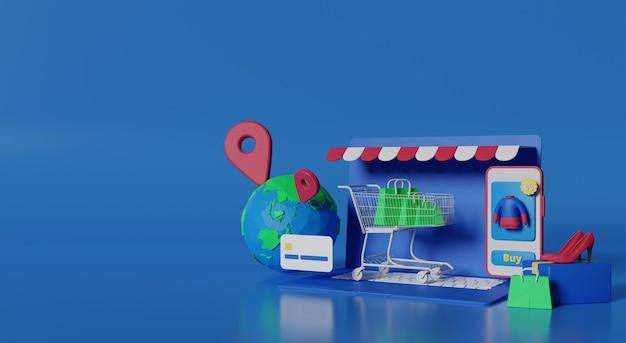 3d-rendering mobiele winkel voor online winkelen