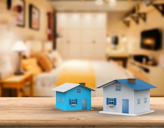 3d-rendering mock-up huis met interieur achtergrond