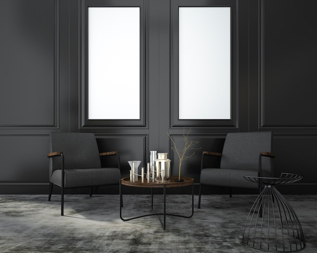3d-rendering mock up living fauteuil in de buurt van klassieke zwarte muur en raam in de kamer
